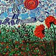 Wild Flowers Under Wild Sky Poster