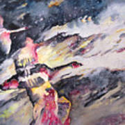 Wild Geese Flying In A Snow Storm Poster