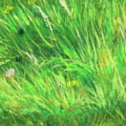 Wild Meadow Grass Structure In Bright Green Tones, Painting Detail. Poster