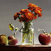 Wild Red Apples With Marigolds Poster