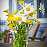 Wildflowers Bouquet At Cottage Poster by Elena Elisseeva