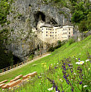 Wildflowers On Hillside At Predjama Castle 1570 Renaissance Fort Poster