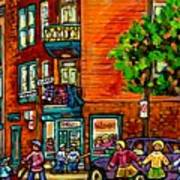 Wilensky Diner Little League Expo Kids Baseball Painting Montreal Scene Canadian Art Carole Spandau  Poster