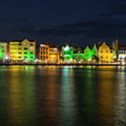 Willemstad And Queen Emma Bridge At Night Poster