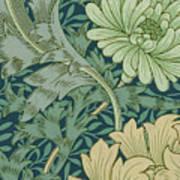William Morris Wallpaper Sample With Chrysanthemum Poster