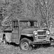 Willys Jeep Pickup Truck Monochrome Poster