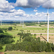 Wind Turbines In Suwalki. Poland. View From Above. Summer Time. Poster