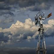 Windmill Energy On Old Prairie Farm Poster