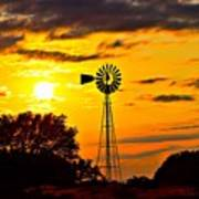 Windmill In Texas Sunset Poster