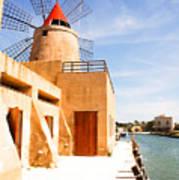Windmill On Canal - Trapani Salt Flats Poster