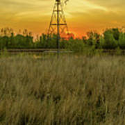Windmill On The Prairie Poster