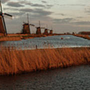 Windmills In The Evening Sun Poster