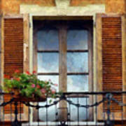 Window Shutters And Flowers I Poster