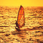 Windsurfer At Sunset Poster