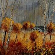 Windy Autumn Landscape  Poster