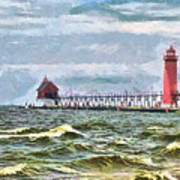 Windy Day At Grand Haven Lighthouse Poster