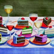 Wine And Cake Poster