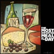 Wine And Cheese Imported Meal Poster