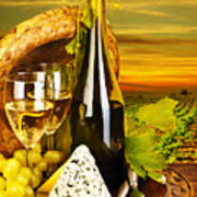 Wine And Cheese Romantic Dinner Outdoor Poster by Anna Om