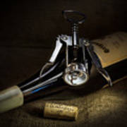 Wine Bottle, Corkscrew And Cork Poster