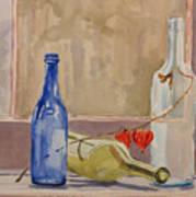 Wine Bottles On Shelf Poster