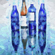 Wine Bottles Reflection  Poster