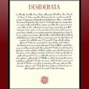 Wine Framed Sunburst Desiderata Poem Poster