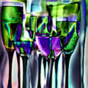 Wine Glasses With Colorful Drinks  Poster