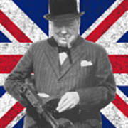 Winston Churchill And Flag Poster