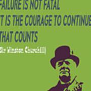 Winston Churchill Motivation Quote Poster