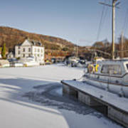 Winter At Bowling Harbour Poster