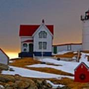 Winter At Nubble Light  Poster