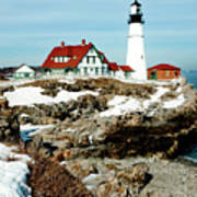 Winter At Portland Head Poster by Greg Fortier