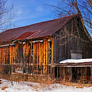 Winter Barn - Chatham New Hampshire Poster by Thomas Schoeller