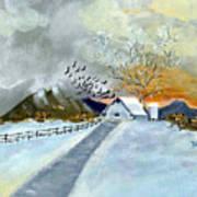 Winter Barn Poster