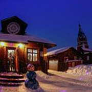 Winter Christmas Evening Lights Poster