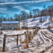 Winter Farm Barn In Snow  Poster