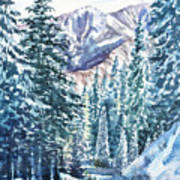 Winter Forest And Mountains Poster