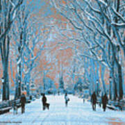 Winter In The City Park Poster