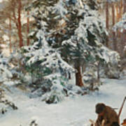 Winter Landscape With Hunters And Dogs Poster