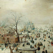 Winter Landscape With Ice Skaters1608 Poster