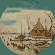 Winter Landscape With Skaters And A Farm House Poster