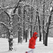 Winter Landscape With Walking Gir In Red. Blac White Concept Gra Poster