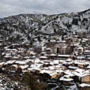 Winter Mountain Village Landscape With Snow Poster