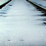 Winter Railroad Tracks Poster