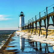 Winter Reflection At Manistee Light Poster