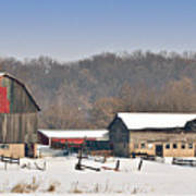 Winter Shed And Barn Poster