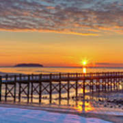 Winter Sunrise At The Beach Poster