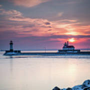 Winter Sunrise Over Canal Park Duluth Mn  Poster