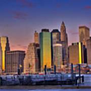 Winter Sunrise Over Downtown Manhattan Poster